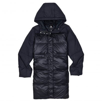 DOWN FILL HOODED LONG JACKET